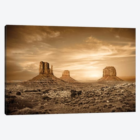 Monument Valley Golden Sunset Canvas Print #SMZ101} by Susan Schmitz Canvas Print