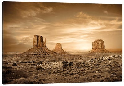 Monument Valley Golden Sunset Canvas Art Print