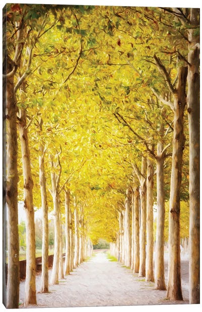 Pathway Lined With Trees Artistic Painting II Canvas Art Print