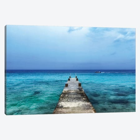 Pier On Caribbean Sea With Boat II Canvas Print #SMZ118} by Susan Schmitz Canvas Art