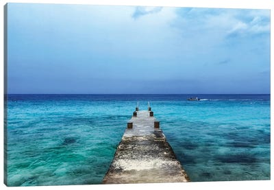 Pier On Caribbean Sea With Boat II Canvas Art Print