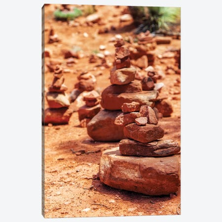 Red Rock Piles Marking Vortex In Sedona Canvas Print #SMZ125} by Susan Schmitz Canvas Artwork
