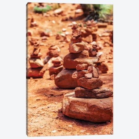 Red Rock Piles Marking Vortex In Sedona Canvas Print #SMZ125} by Susan Schmitz Canvas Artwork