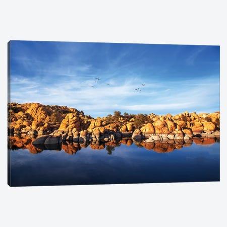 Red Rock Reflection On Arizona Lake Canvas Print #SMZ126} by Susan Schmitz Canvas Artwork