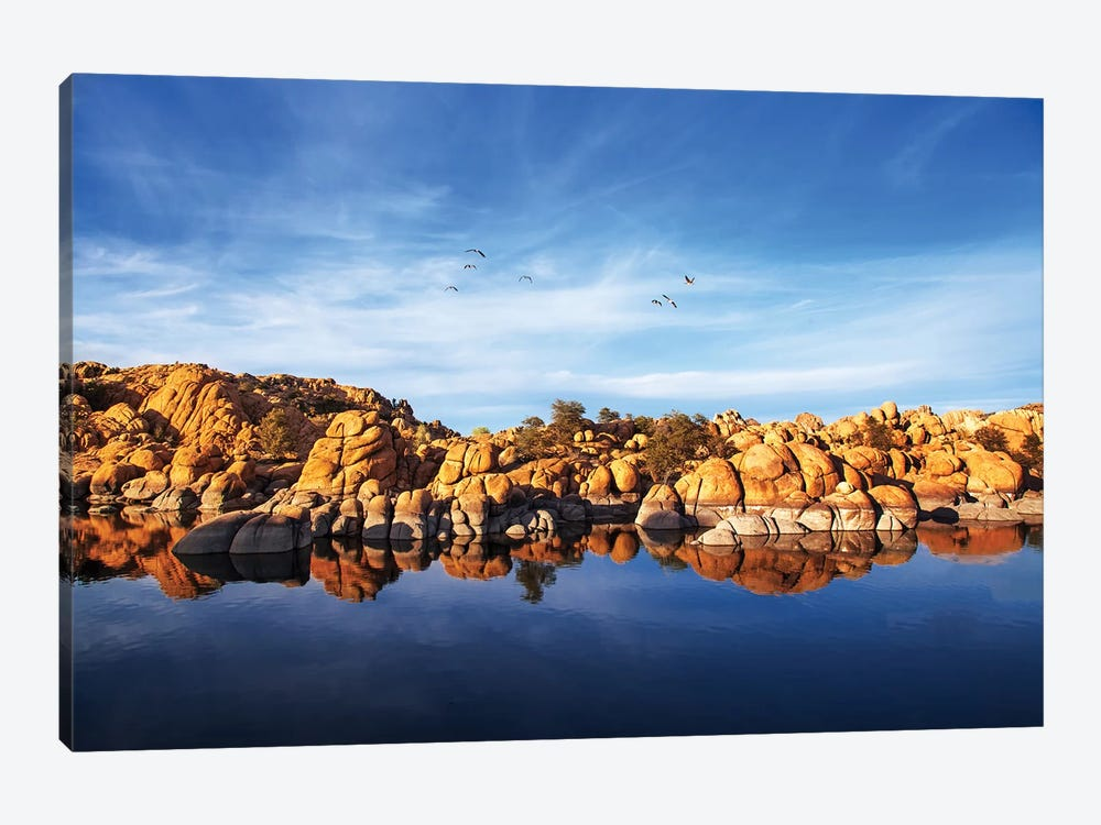 Red Rock Reflection On Arizona Lake by Susan Schmitz 1-piece Canvas Wall Art