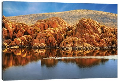 Rowboating In Peaceful Watson Lake - Arizona Canvas Art Print