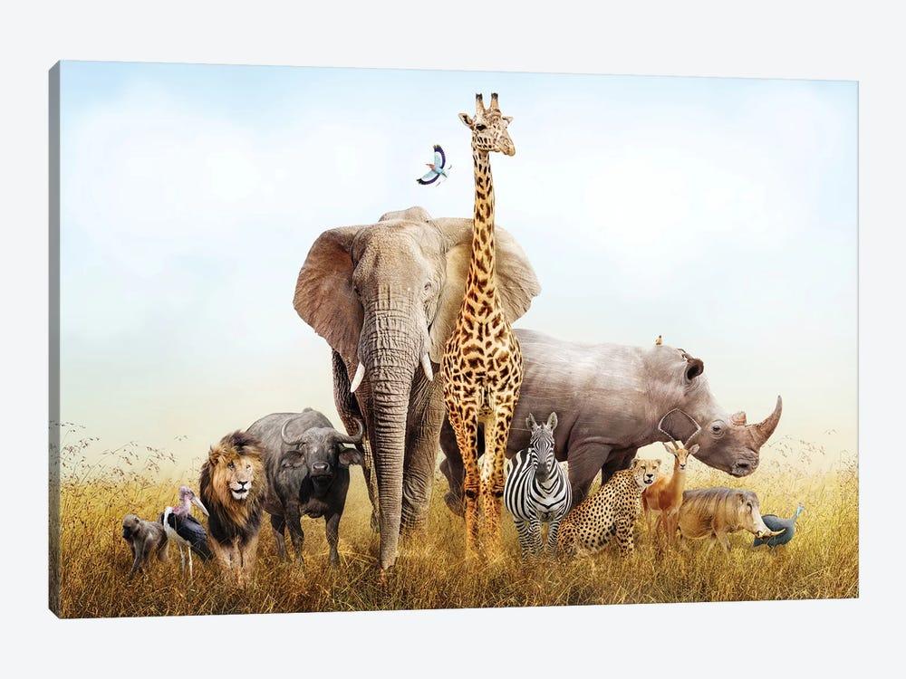 Safari Animals In Africa Composite by Susan Schmitz 1-piece Canvas Artwork