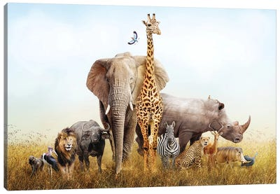 Safari Animals In Africa Composite Canvas Art Print