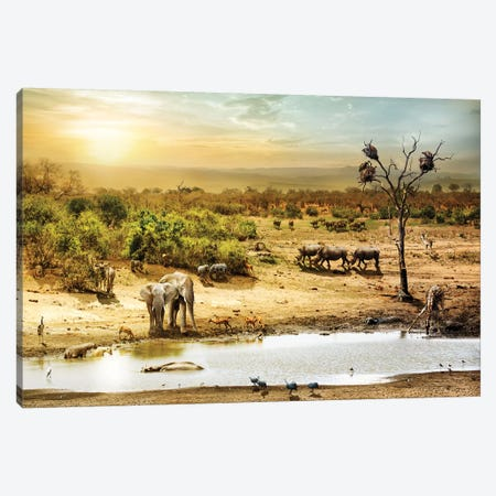 South African Safari Wildlife Fantasy Scene II Canvas Print #SMZ145} by Susan Schmitz Canvas Artwork