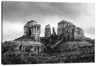 Sedona Arizonas Cathedral Rock In Black And White Canvas Art Print