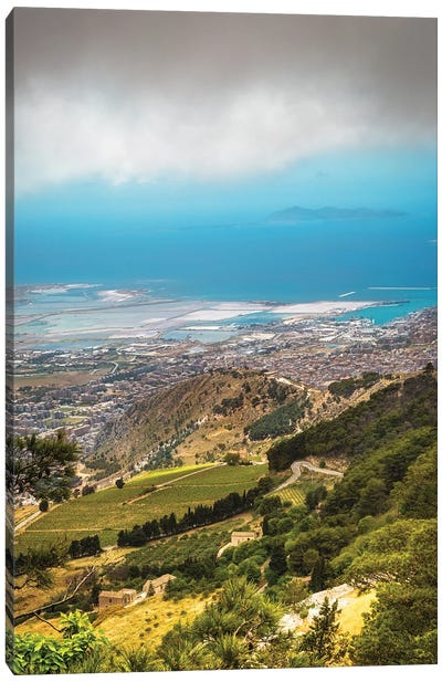 Sicily Italy Rolling Hillside Overlooking City And Sea Canvas Art Print