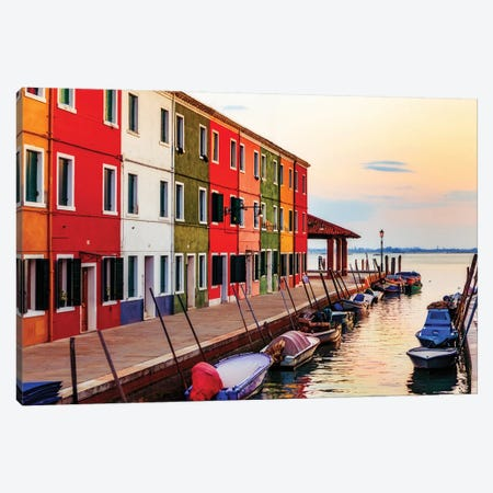 Boats And Colorful Homes In Burano Italy Canvas Print #SMZ26} by Susan Schmitz Art Print