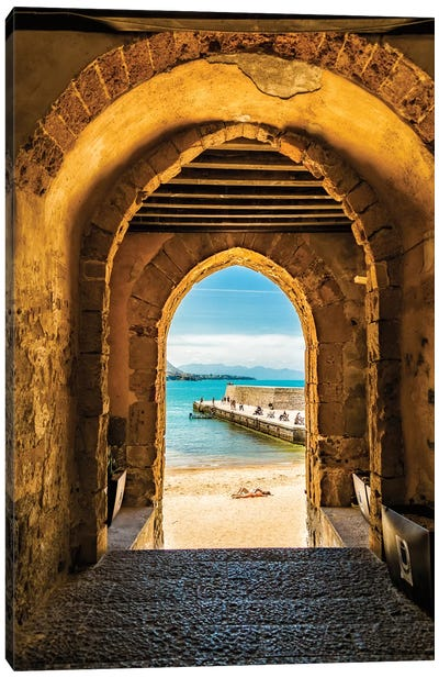 Cafalu Sicily - Archway To Beach Canvas Art Print