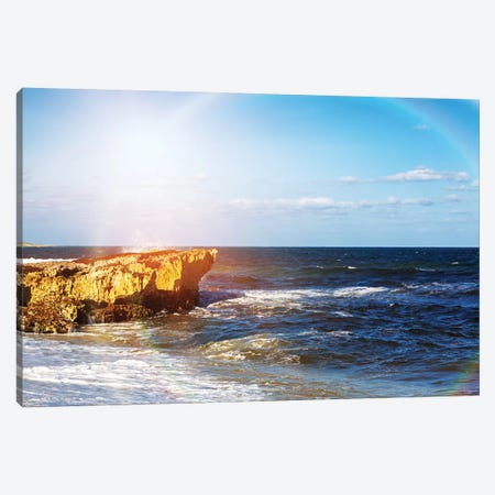 Colorful Sun Rays On Crashing Waves Canvas Print #SMZ49} by Susan Schmitz Canvas Wall Art