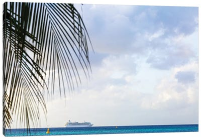 Cruise Ship At Sea With Copy Space Canvas Art Print