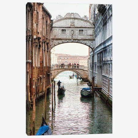 Gondolas Under Bridge Of Sighs In Venice Canvas Print #SMZ77} by Susan Schmitz Canvas Artwork