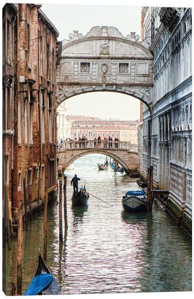 Gondolas Under Bridge Of Sighs In Venice Canvas Art Print