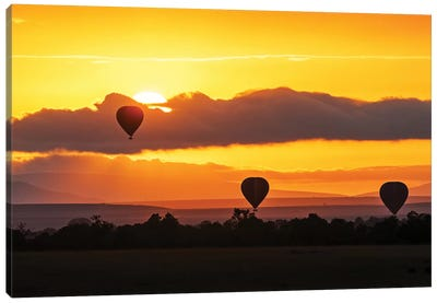Hot Air Balloons In Surise Orange Africa Sky Canvas Art Print