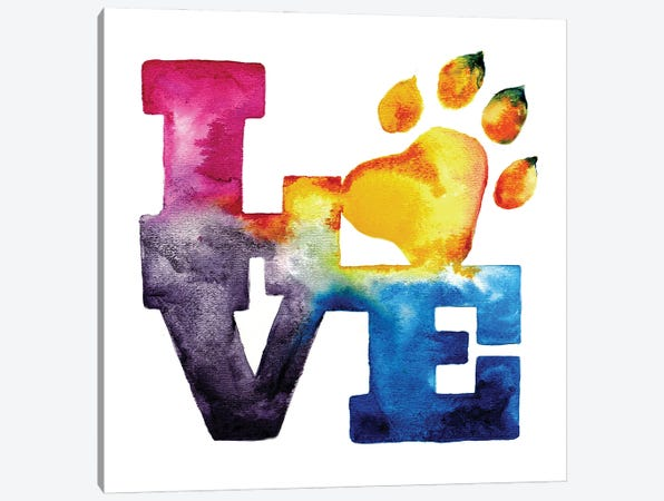 Pet Love Canvas Print #SNA18} by Weekday Best Canvas Wall Art