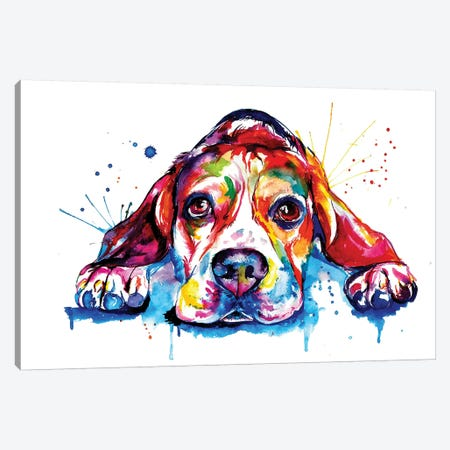 Beagle Canvas Print #SNA2} by Weekday Best Art Print
