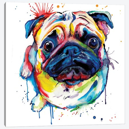 Pug II 3-Piece Canvas #SNA36} by Weekday Best Canvas Print