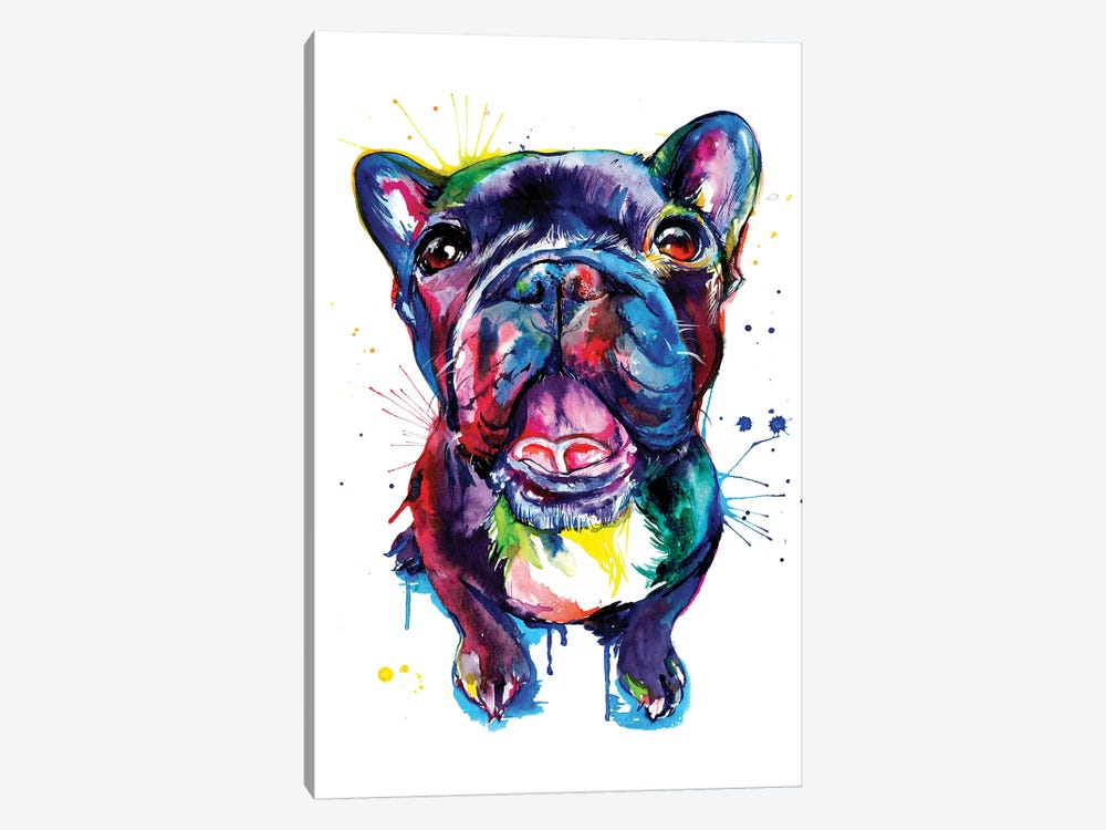Black Frenchie by Weekday Best 1-piece Canvas Art