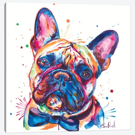 Bowtie Frenchie Canvas Print #SNA46} by Weekday Best Canvas Wall Art