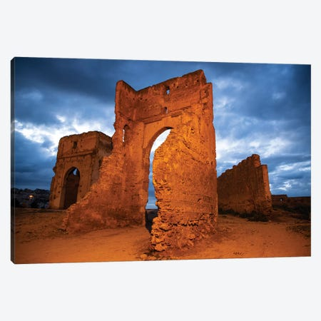 Fez, Morocco. Marinid Tombs at night Canvas Print #SND10} by Jolly Sienda Canvas Art Print