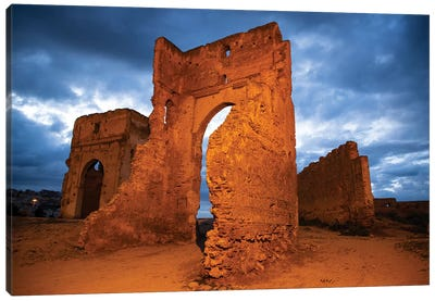 Fez, Morocco. Marinid Tombs at night Canvas Art Print