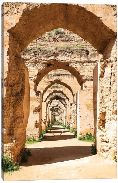 Meknes, Morocco. Stone archways at the Royal Stables Canvas Art Print