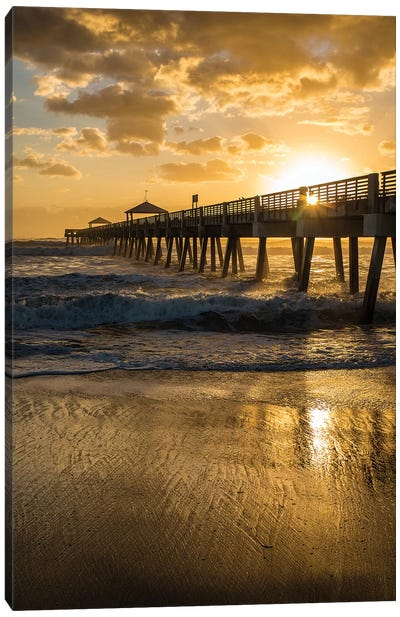 Juno Beach, Palm Beach County, Florida. Sunrise and high surf. Canvas Art Print