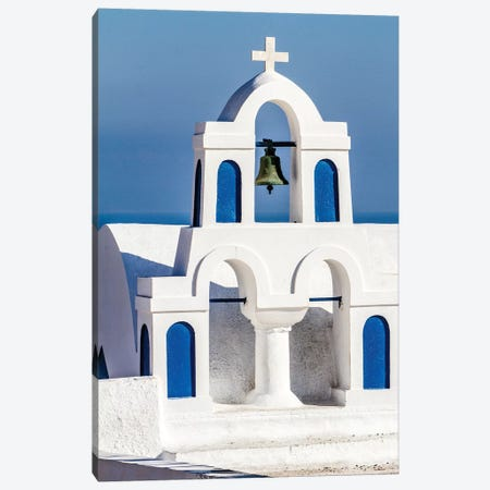 Oia, Greece. Greek Orthodox Church steeple by the Aegean Sea Canvas Print #SND3} by Jolly Sienda Canvas Wall Art