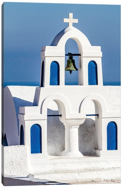 Oia, Greece. Greek Orthodox Church steeple by the Aegean Sea Canvas Art Print