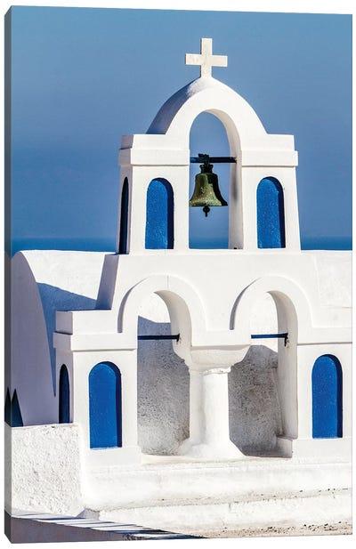 Oia, Greece. Greek Orthodox Church steeple by the Aegean Sea Canvas Art Print