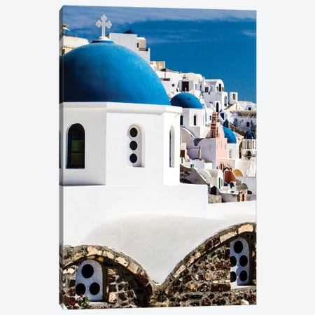 Oia, Greece. Row of Greek Orthodox Churches with blue domes. Canvas Print #SND4} by Jolly Sienda Canvas Print