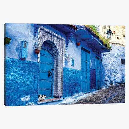 Chefchaouen, Morocco. Cat and blue door and buildings 3-Piece Canvas #SND8} by Jolly Sienda Canvas Wall Art