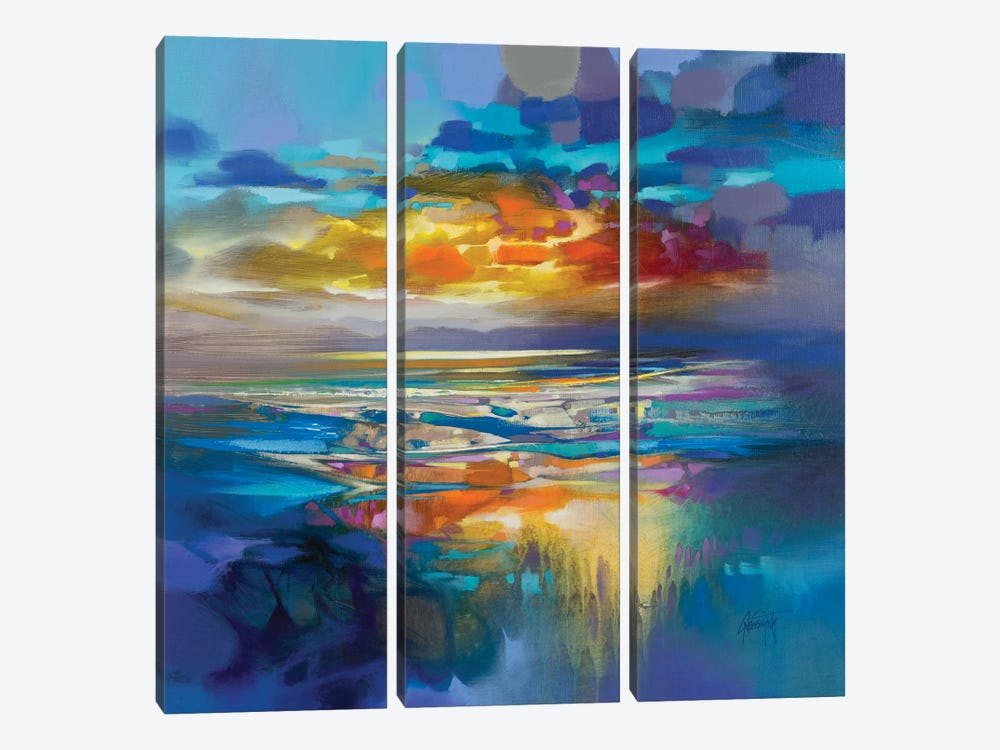 Liquid Cyan by Scott Naismith 3-piece Art Print