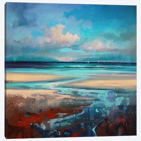 Cyan Sailing Canvas Print #SNH33} by Scott Naismith Canvas Print