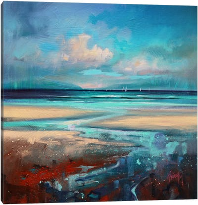 Cyan Sailing Canvas Art Print