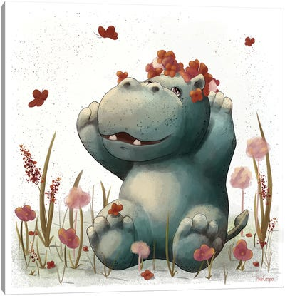 Hippo Bathing In Flowers Canvas Art Print