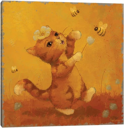 Cat And Bees Canvas Art Print
