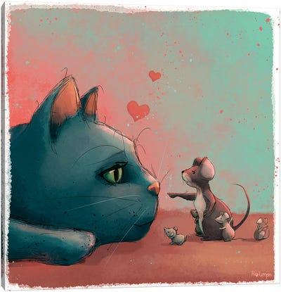 Cat And Mice Canvas Art Print