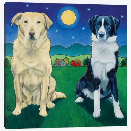 Two Dog Night Canvas Print #SNM100} by Stacey Neumiller Art Print