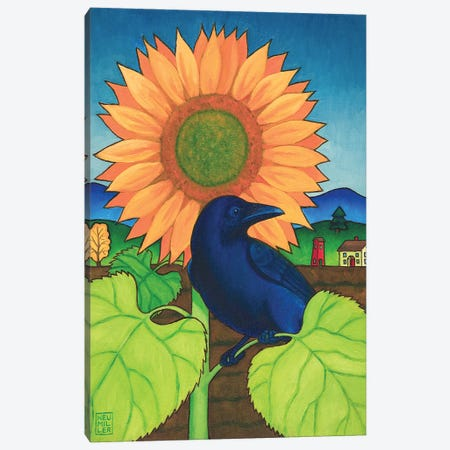 Crow In The Garden Canvas Print #SNM20} by Stacey Neumiller Canvas Art Print