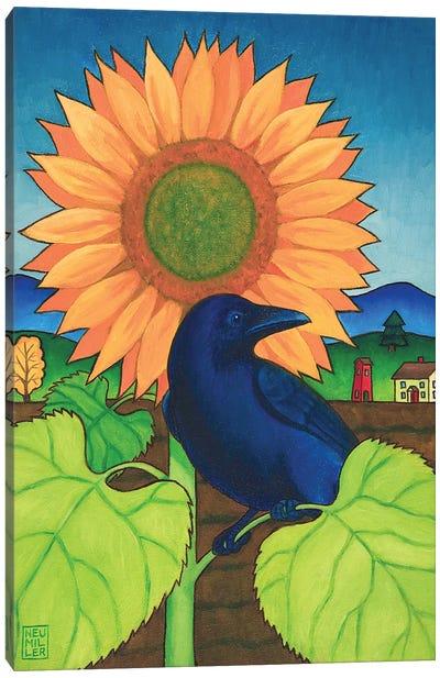 Crow In The Garden Canvas Art Print