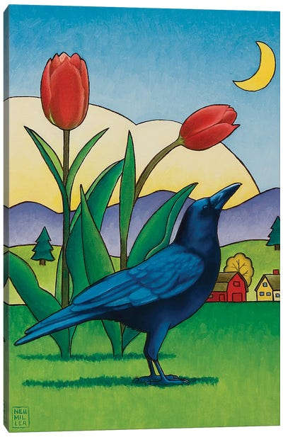 Crow With Red Tulips Canvas Art Print