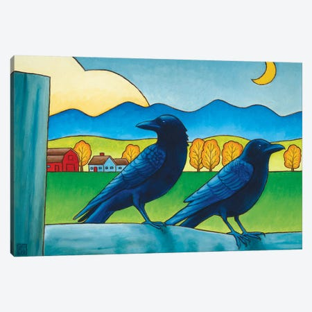 Moe And Joe Crow Canvas Print #SNM56} by Stacey Neumiller Canvas Art Print