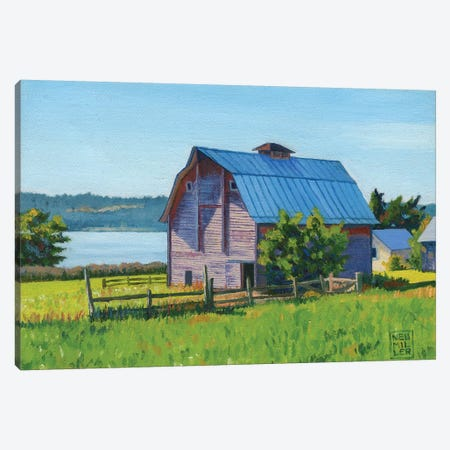 Penn Cove Barn Canvas Print #SNM65} by Stacey Neumiller Canvas Art