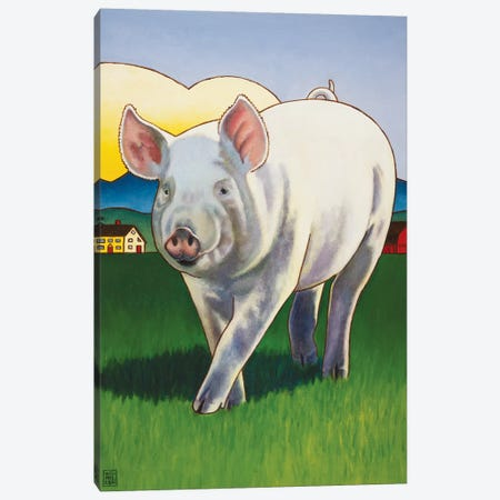 Pig Newton Canvas Print #SNM66} by Stacey Neumiller Canvas Art