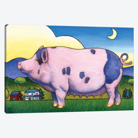 Small Pig Canvas Print #SNM89} by Stacey Neumiller Art Print